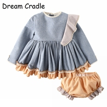 Dream Cradle / 2019 New Arrival Kids Spanish Dresses for Girls Exquisite Clothes Set Linen Dress