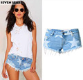 2016 New Summer Sexy Distressed Ripped Shorts Femme mujer Frayed cut off Low rise denim shorts women Cute Star print Short jeans