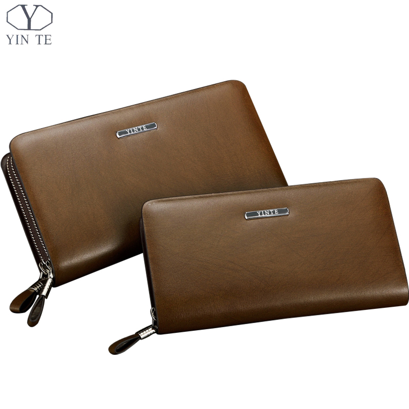 YINTE Fashion Leather Men's Clutch Wallets High Quality Zipper Wallet Business Handbag Brown Bag Phone Purses Wrist Bags T034-2 2016 famous brand new men business brown black clutch wallets bags male real leather high capacity long wallet purses handy bags