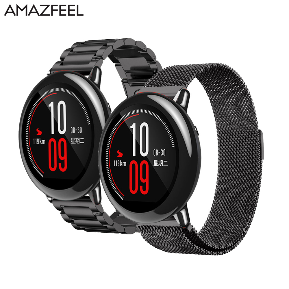 AMAZFEEL 22mm Metal Stainless Strap for Xiaomi Huami Amazfit Pace Bracelet Watch Band Milanese Magnetic Belt Amazfit Stratos 2