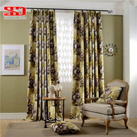 Print Modern Floral Country Style Yellow Curtains For Living Room Drapes In Bedroom Kitchen Cortinas Window Screen Single Panel