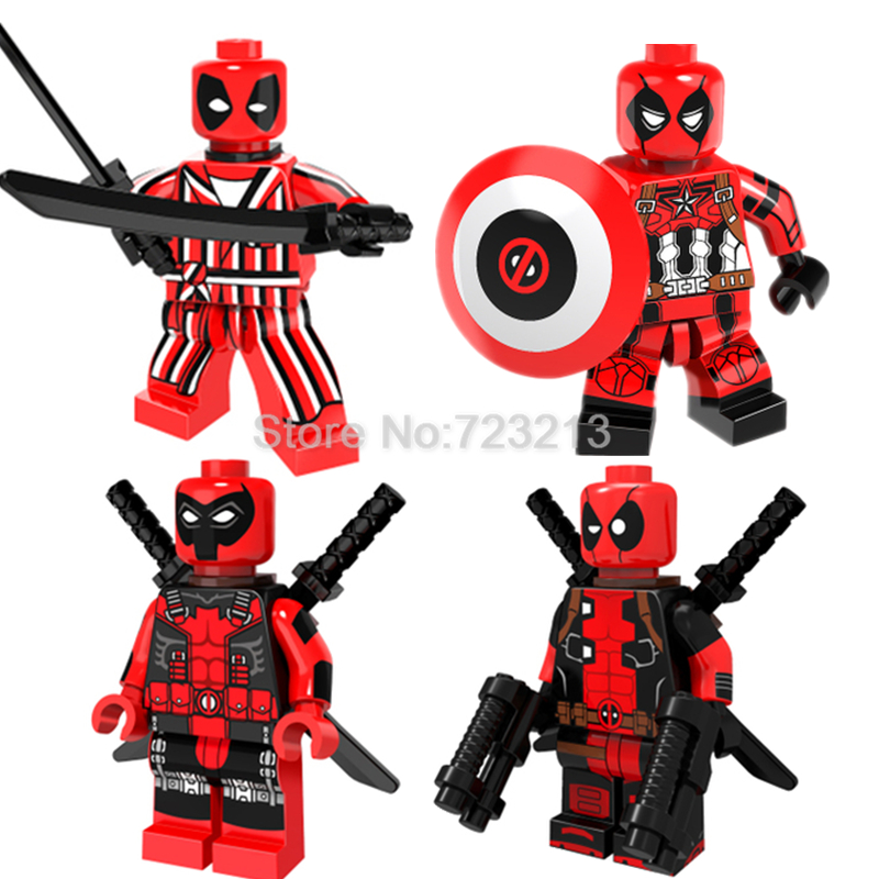 Single Sale Deadpool Captain America PG381 Figure Stripe Suit Marvel Super Hero Building Blocks Sets Bricks Kids Toys the falcon marvel super hero sam wilson figure the avengers captain america building blocks sets model bricks toys for children