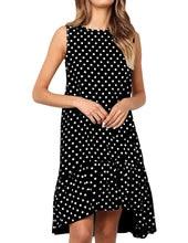 Polka Dots Dress for Women Summer Cold Shoulder Ruffle Irregular Round Neck Plus Size Casual Boho Beach Dress цена 2017