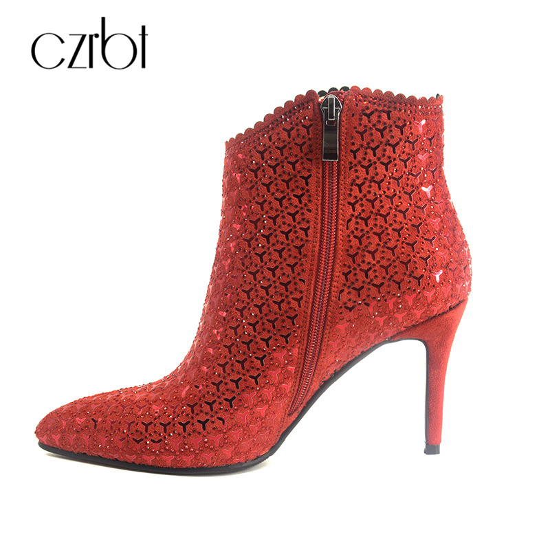 CZRBT 2018 New Lindy Women Boots Party Shoes Fashion Bling Skin with Top Quality Handmade Ladies High Heels 8,5cm Ankle Boots сумка hermes lindy 34 togo