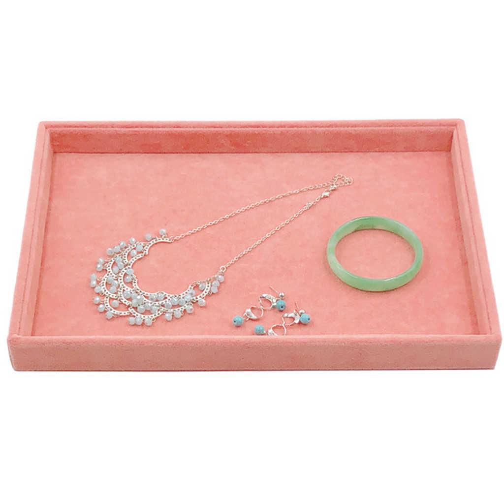 الوردي المخملية مجوهرات حلقة عرض المنظم حامل صينية قلادة أقراط الإسورة صندوق تخزين عرض منصة عرض المجوهرات حامل