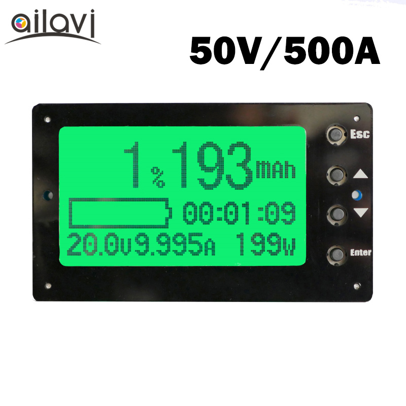 TF03 Large Screen Battery Capacity Tester Voltage Current Display Coulometer Coulomb Counter RV Dedicated 50V 500A ebc a40l high current battery capacity tester battery line graph battery tester battery testing 20acharge 40a discharge