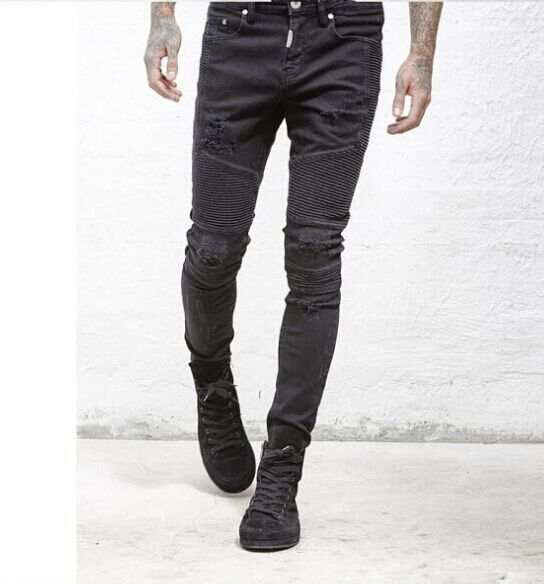 US $10.79 28% OFF|represent clothing designer pants slp blueblack destroyed mens slim denim straight biker skinny jeans men ripped jeans 28 38 in