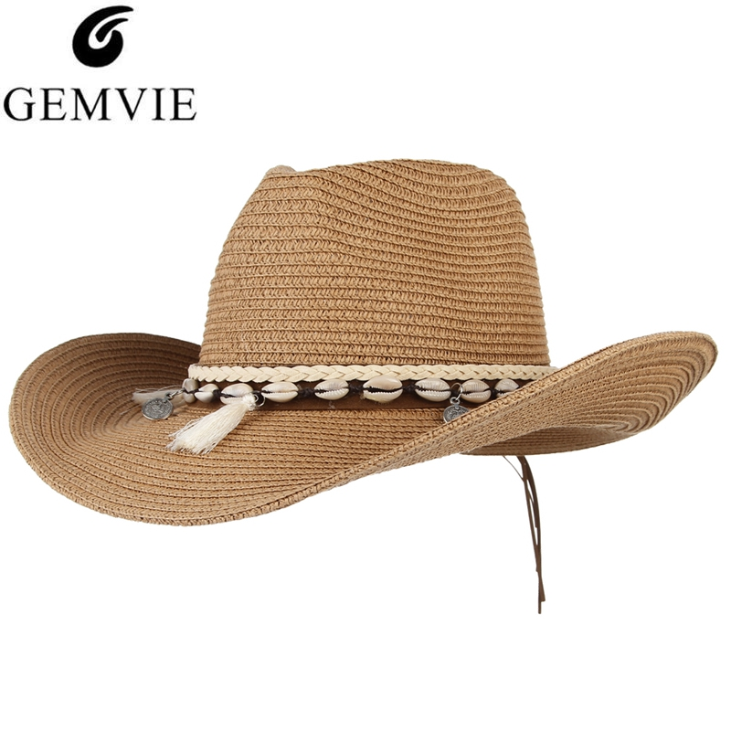 GEMVIE 2019 Shell Tassels Cowgirl Summer Hat Straw Hat For Women Men Western Cowboy Hat Lady Trendy Woven Sun Hat Beach Cap