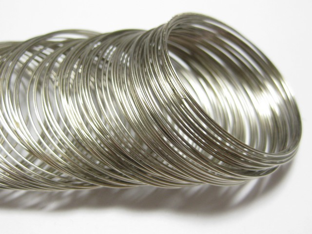 Silver Tone ab.200 Memory Beading Wire Loops 40mm