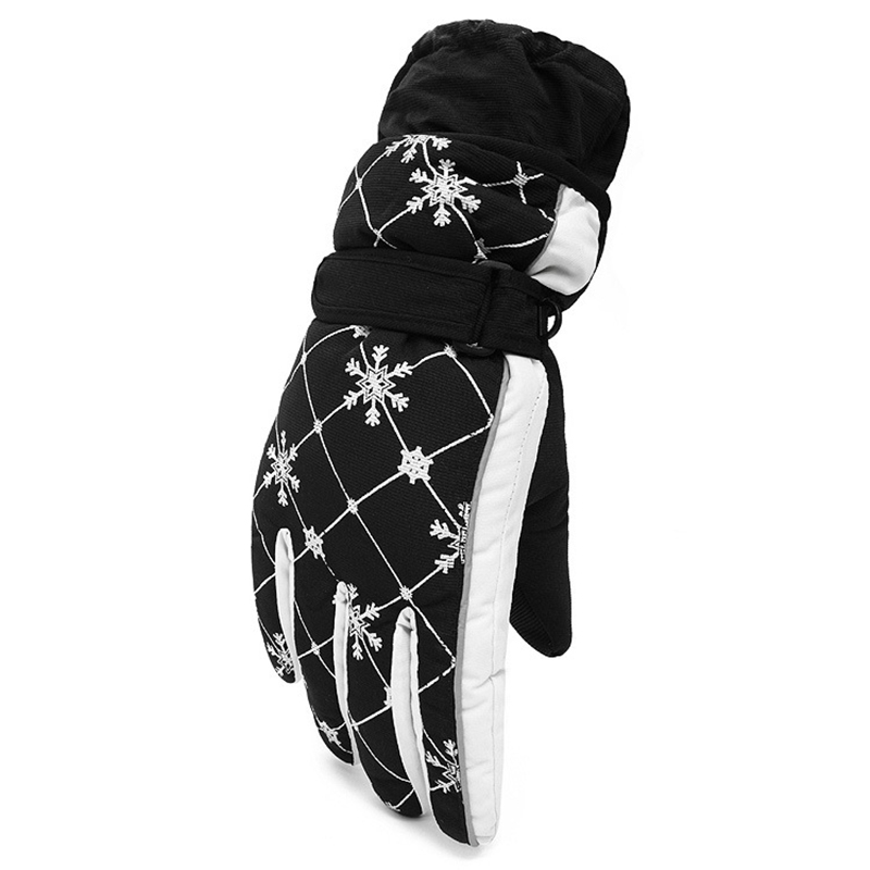 Outdoor Skiing Gloves Women Snowflake Pattern Winter Warm Thickening Waterproof Windproof Skiing Gloves For Women