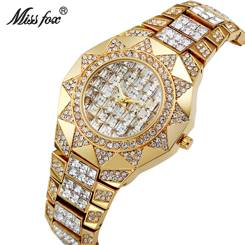Miss Fox Luxury Top Brand Womens Watch Sun of Gold Female Diamond Wristwatches Rhinestone Crystal Femme Clock Relogios Femininos fox womens swimwear