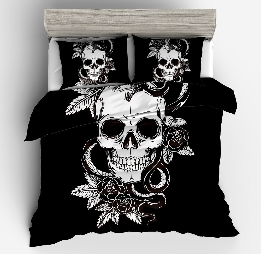 Fashion cool new 3D white black Skull Queen Duvet Cover Sets Bedding Set with Pillowcase king Queen twin full Size Home textilesFashion cool new 3D white black Skull Queen Duvet Cover Sets Bedding Set with Pillowcase king Queen twin full Size Home textiles