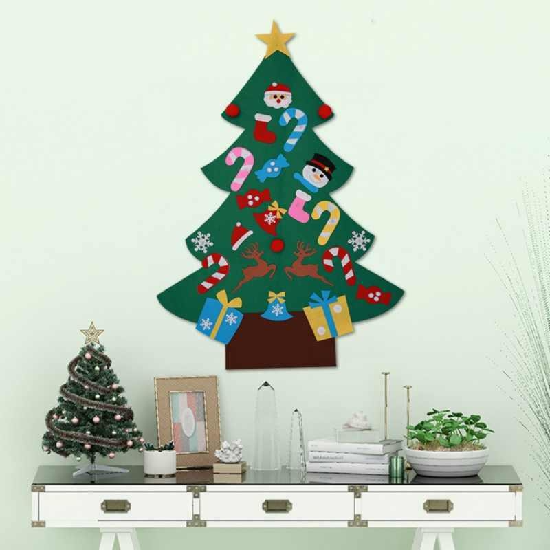 DIY Войлок Рождественская елка для оконных стеклянных наклеек на стену для детских новогодних подарков Рождественская елка украшение дома
