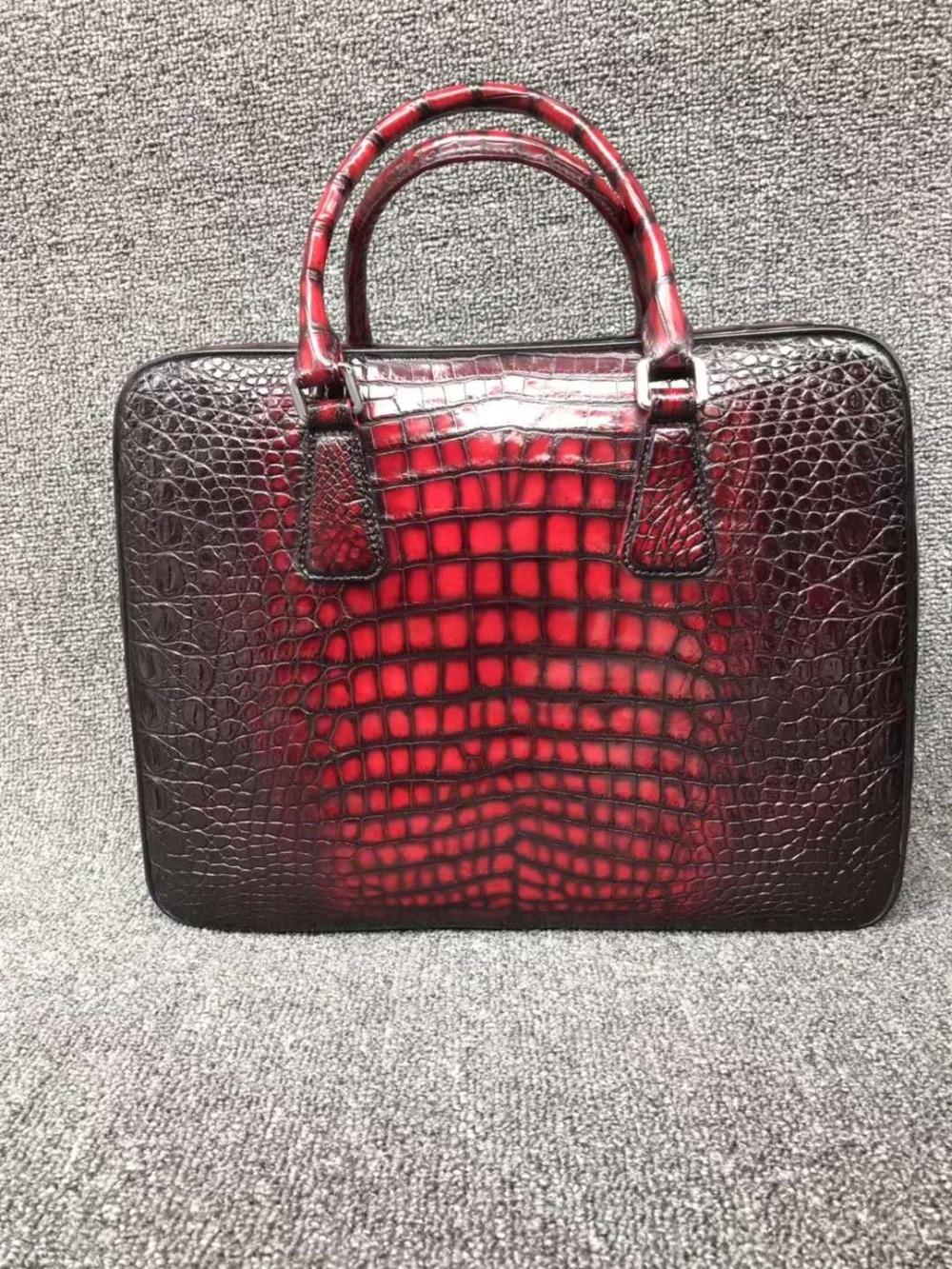 100% Echte Echtem Krokodil Leder Bauch Haut Männer Business Tasche Aktentasche Zipper Mit Code Locker Verschluss 2 Farben Schwarz + Rot