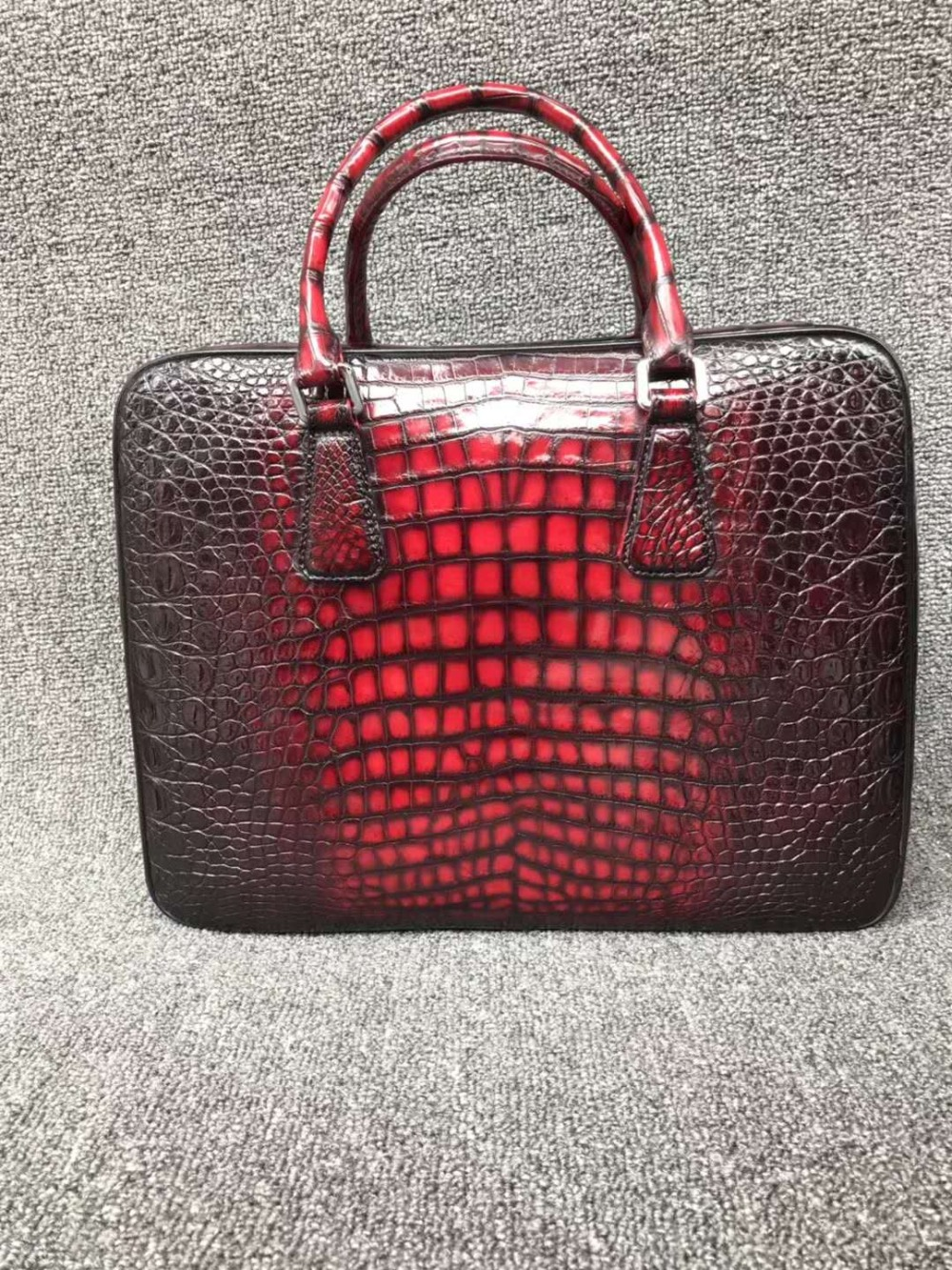100% Genuine Real Crocodile Leather Belly Skin Men Business Bag Briefcase Zipper With Code Locker Closure 2 Colors Black+red