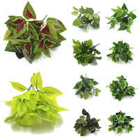 Home Garden Decoration Net Leaf Artificial Plants Green Grass Tress Silk Fake Flowers Simulation Plant Wall Material