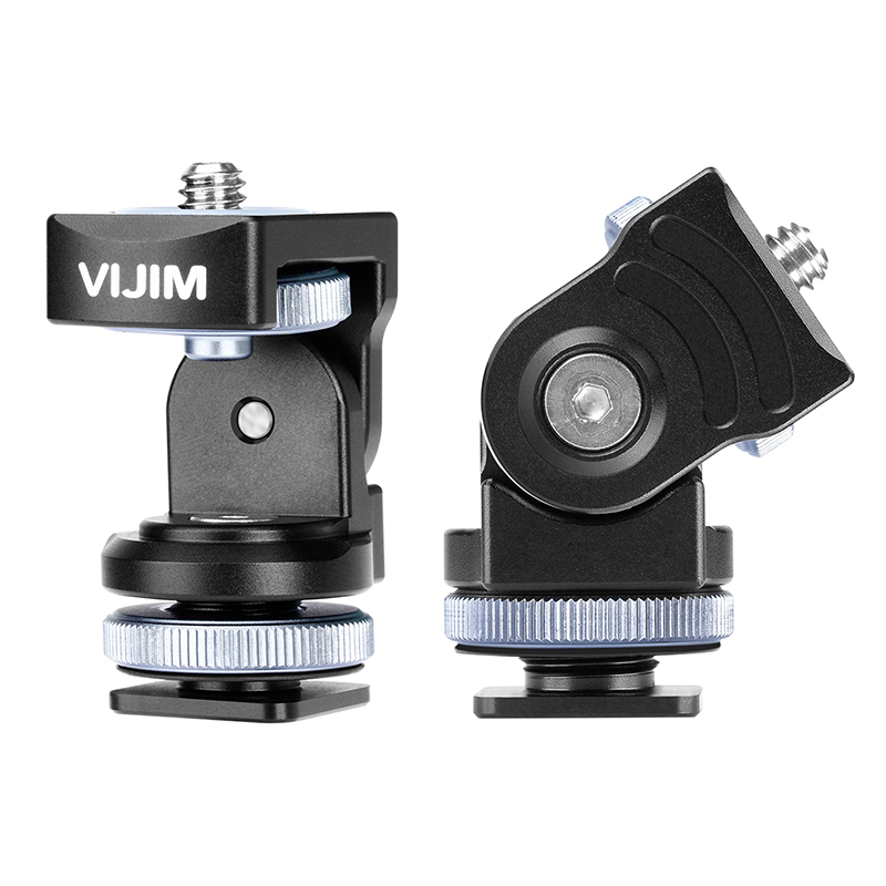 VIJIM VK-2 360 Paranomic Camera Head Strong Ballhead with Cold Shoe Mount Bracket Holder for LED Video light on camera image