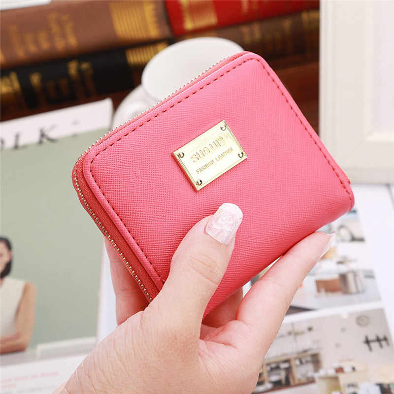 Women Wallet Leather Small Card Holder Zip Coin Clutch Handbag ladies wallet portfel damski carteira feminina cartera mujer