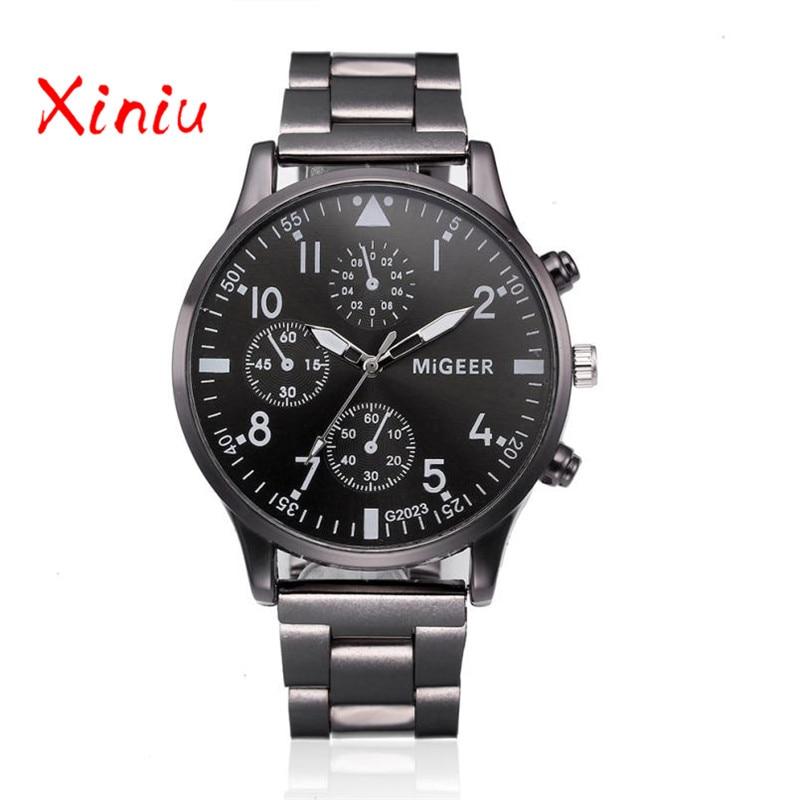 Men Quartz Watch Luxury Brand Business Three Eyes Stainless Steel Band Military Wrist Watch Relogios Masculino erkek kol saati