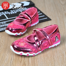 Children Casual Shoes Brand Girls Hook Shinning Sport Shoes Fashion Sandals Baby Hot Cartoon Sneakers Soft Princess Shoes