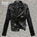 Черный натуральная кожа куртки 100% Овчины куртка мотоцикла офф-центр почтовый карман в юбке весте ан cuir femme jaqueta де couro LT323