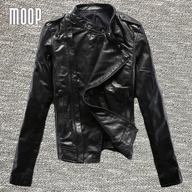 Jaquetas de couro genuíno preto 100% da pele de Carneiro da motocicleta jaqueta off-centro placket zip jaqueta de couro veste en cuir femme LT323