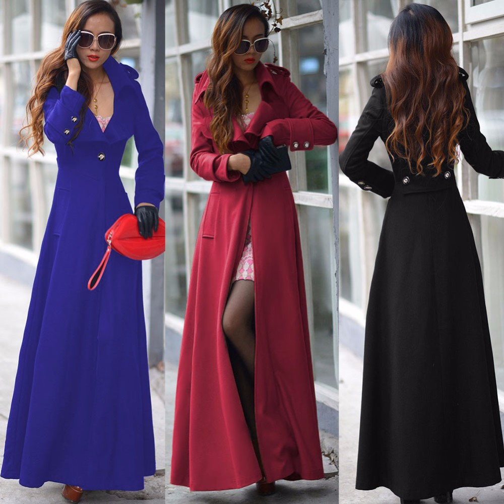 2015 Women Sexy Maxi Winter Coats Extra Long Wool Overcoat Red ...