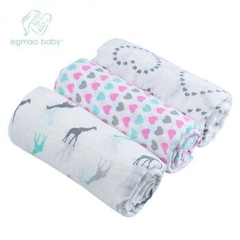 EGMAO תינוק חלבית שקיות מוסלין תינוק שמיכת החתלה לעטוף יילוד תינוקות 100% כותנה החתלה מגבות 3 יחידות חבילה 120*120 CM