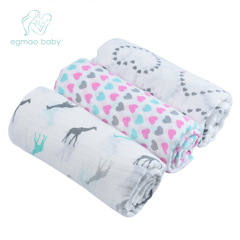 EGMAO Baby Frosted Bagged Muslin Baby Blanket Swaddle Wrap Newborn Infant 100% Cotton Swaddle Towels 3 Pcs a Pack 120*120 CM removable liner baby infant swaddle blanket 100