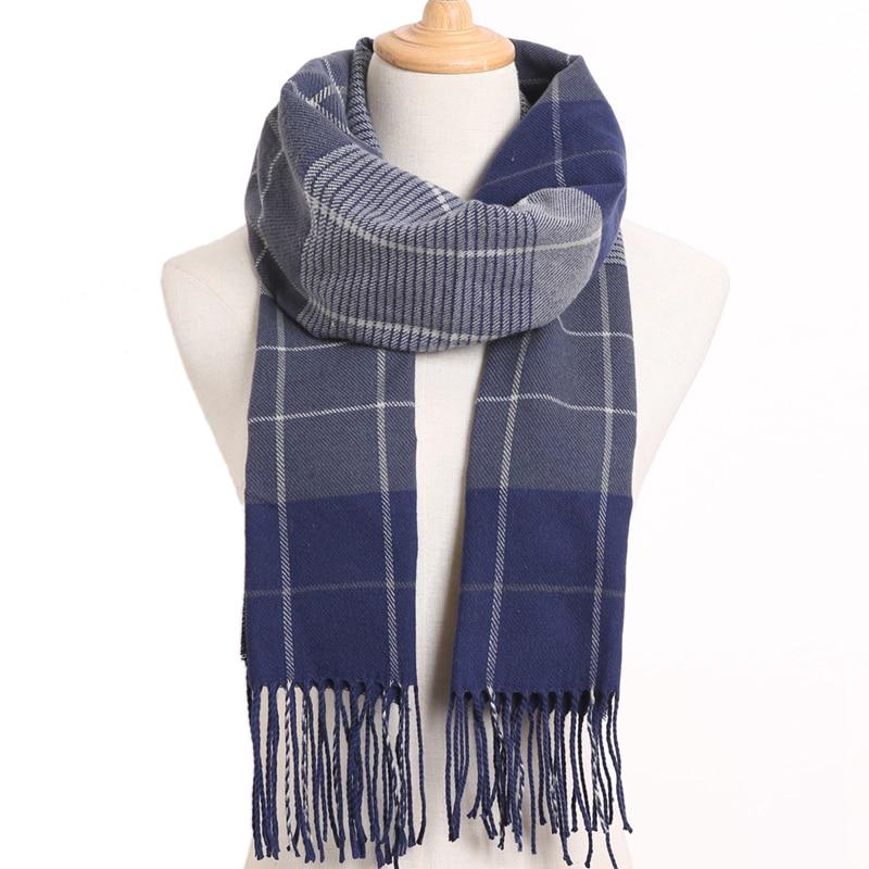 [VIANOSI] клетчатый зимний шарф женский тёплый платок одноцветные шарфы модные шарфы на каждый день кашемировые шарфы - Цвет: 51
