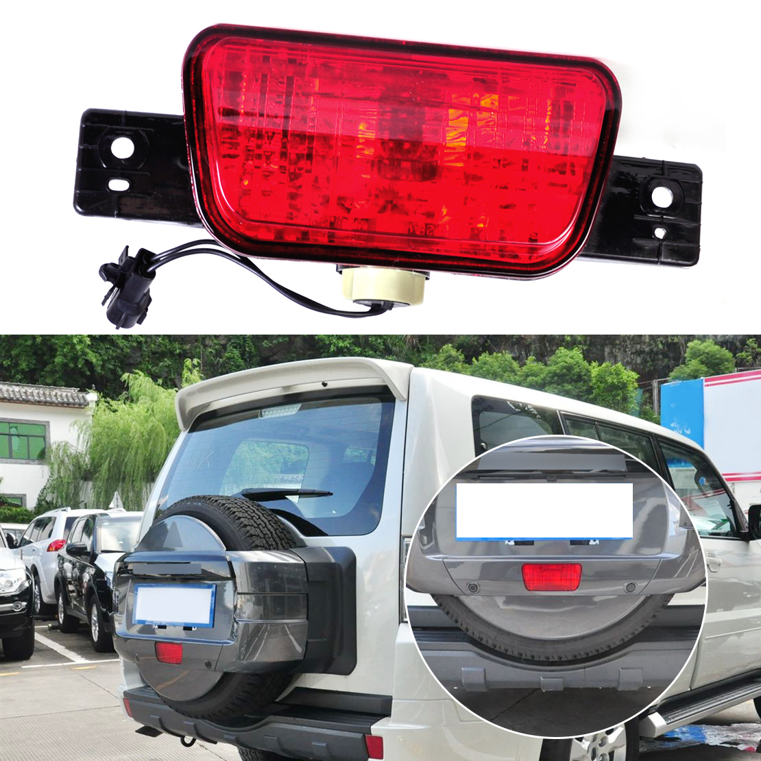 DWCX Rear Spare Tire Lamp Tail Bumper Light Fog Lamp for Mitsubishi Pajero Shogun 2007 2008 2009 2010 2011 2012 2013 2014 2015 rear fog lamp spare tire cover tail bumper light fit for mitsubishi pajero shogun v87 v93 v97 2007 2008 2009 2010 2011 2012 2015