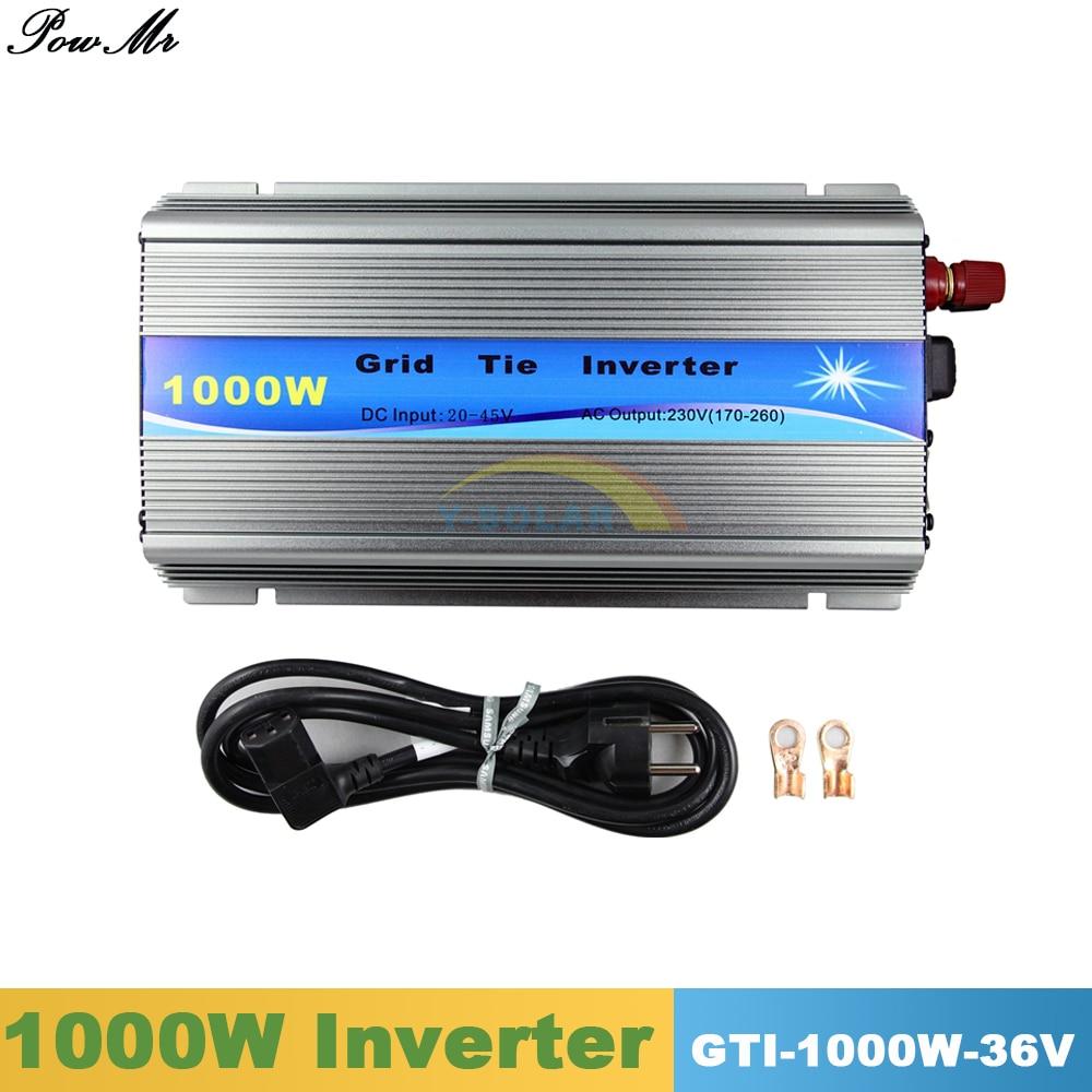 1000W Grid Tie Inverter MPPT Function Pure Sine Wave 110V or 220V Output 20V 45VDC Input For 30V/36V 60/72 Cells Solar Panels