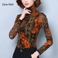 Women Print T Shirts Plus Size 2017 Fashion Autumn Winter Long Sleeve Turtleneck Print Tops Velvet