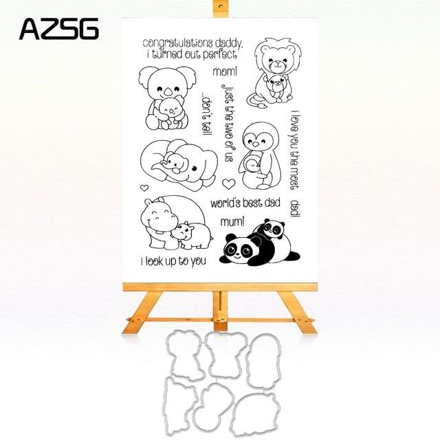 AZSG Panda Dad Scrapbook Cutting Dies Stencil Template For Scrapbooking  Card Album Embossing Decor DIY Metal