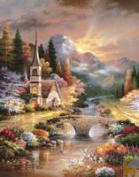 Cross Stitch Kits Handwork Crafts Mosaic Full Diamond Embroidery Landscape Diy 5d Diamonds Painting Sunset Picture