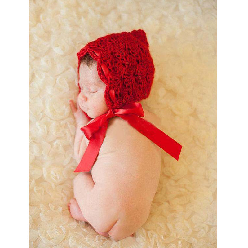 Crochet Baby Girl Beanie Silk Ribbon Infant Toddler Knitted Hat Photo Photography Props Baby Crochet Hat