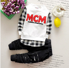 Actual photo 2016 kid boys clothing sets kids clothes littlecharacter baby  boy children long sleeve cotton sets