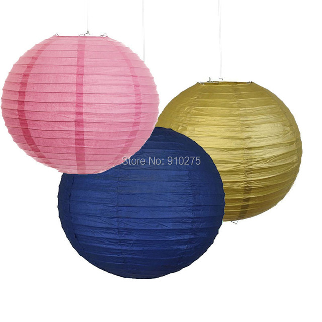 18 Pack Mixed Navy Blue Pink Gold Paper Lantern Lamp Shades For Wedding Christening Baby