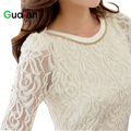{Guoran }Hollow out 3D floral women lace shirt plus size 5XL black White lace blouses ladies office work wear stretch clothing