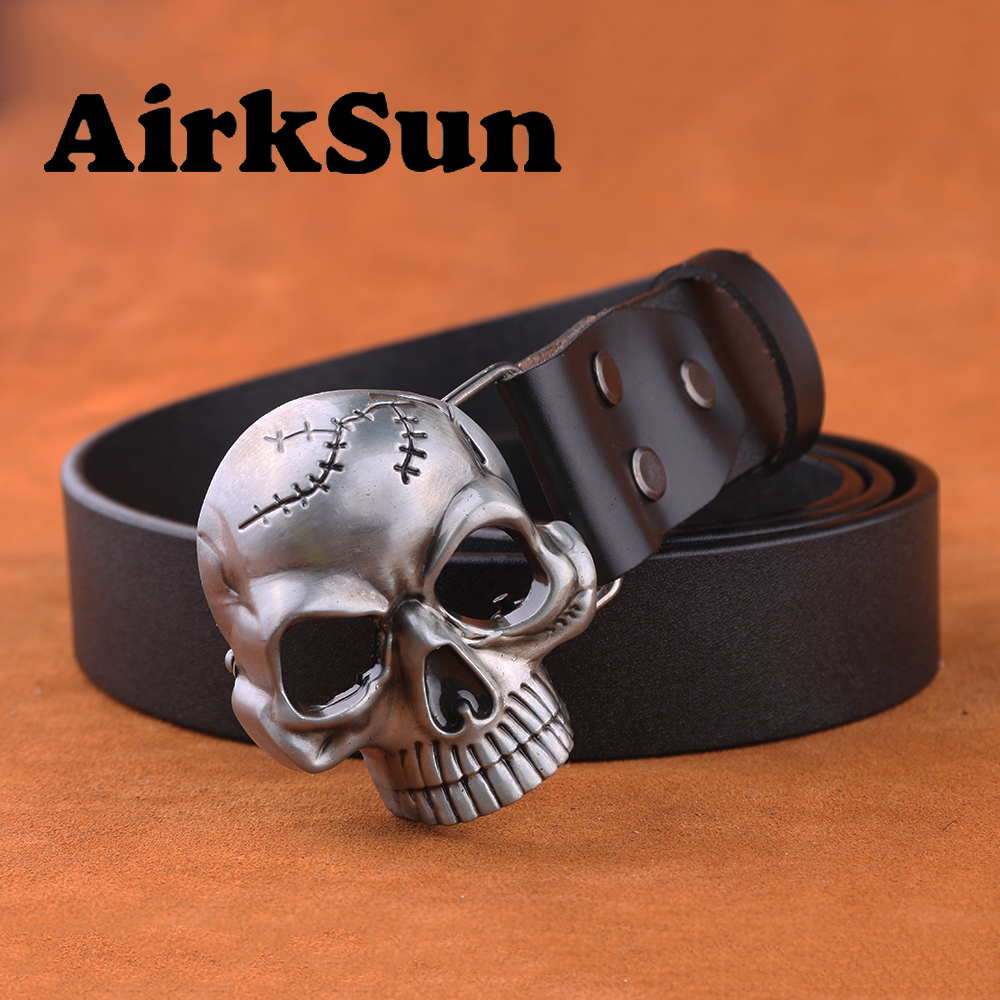 AirkSun2017 Fashion Punk Big Size Designer belts Skull head Buckle for men Cowskin Strap male Genuine leather Belt Men cinto