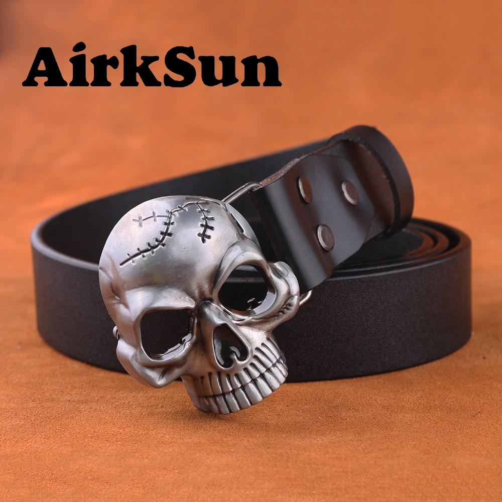 Фотография Модный мужской ремень AirkSun с пряжкой в виде черепа