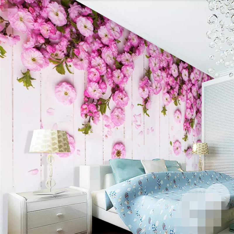 Korean style romantic warm pink cherry blossom wall professional production wallpaper mural custom photo