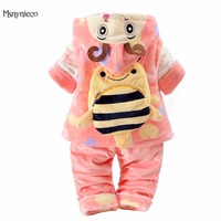 Winter Baby Girl Clothes Sets 2017 Brand Girl Flannel Suits Thicken Warm Coat Cartoon Baby Jacket