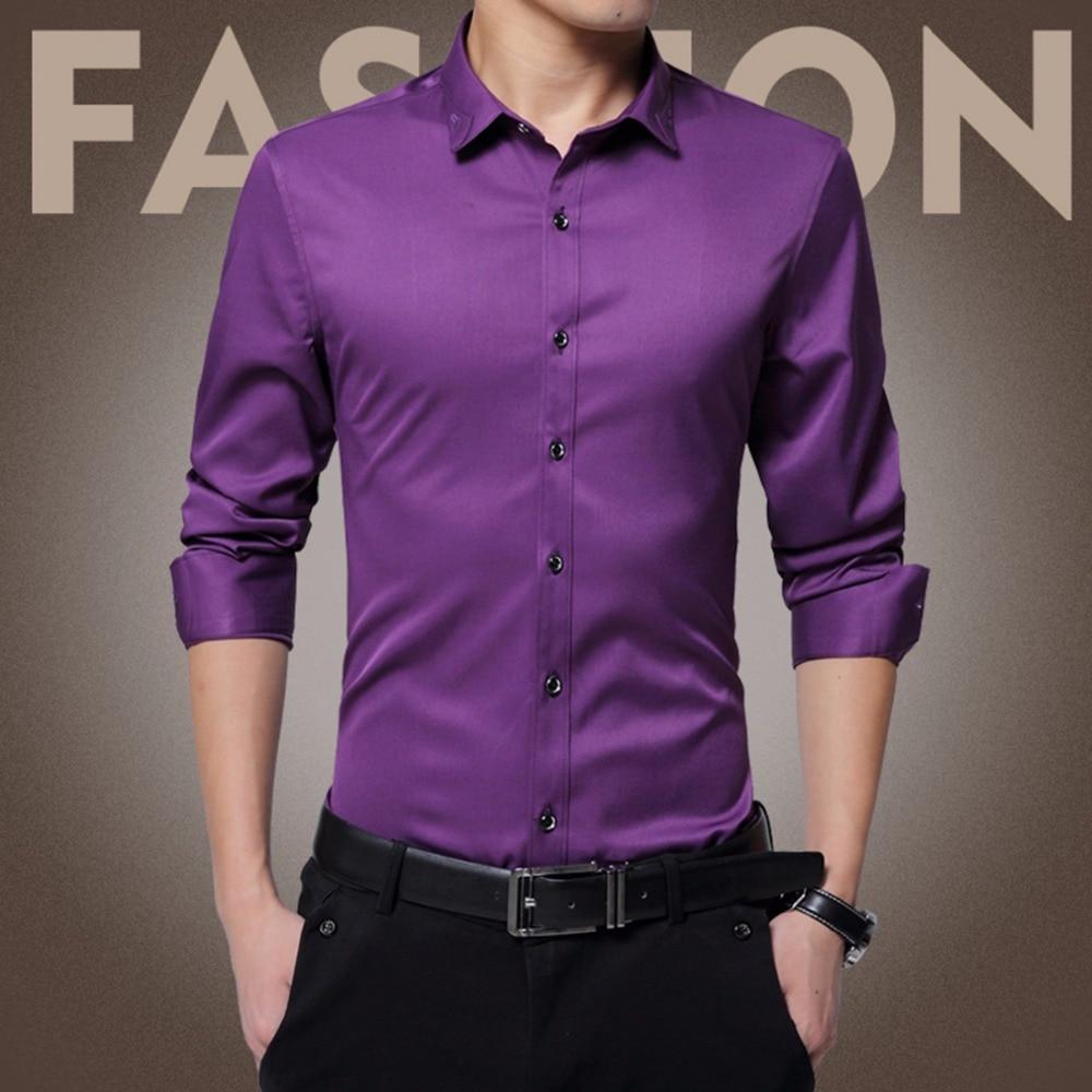 Brand fashion men 39 s tuxedo silk dress shirt business male for Long sleeve silk shirt dress