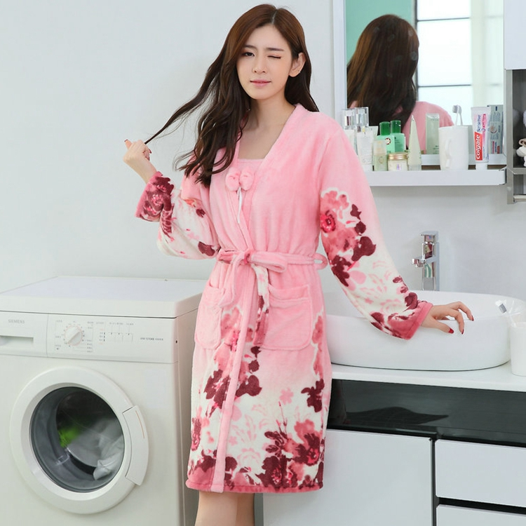 2PCS Sexy Thick Warm Flannel Robes Sets for Women 2018 Winter Coral Velvet Lingerie Night Dress Bathrobe Two Piece Set Nightgown 259