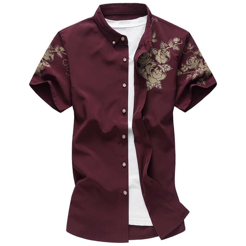 New Big Size Mens Cotton Shirt 2018 Summer Short Sleeve Gold Rose Printed Slim Fit Male Casual Party Shirts Large Size 6XL 7XL