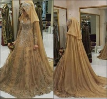 High Neck Long Sleeve Muslim Evening Dresses 2019 Gold Arabic Pageant A-line Party Gowns Lace with Appliques