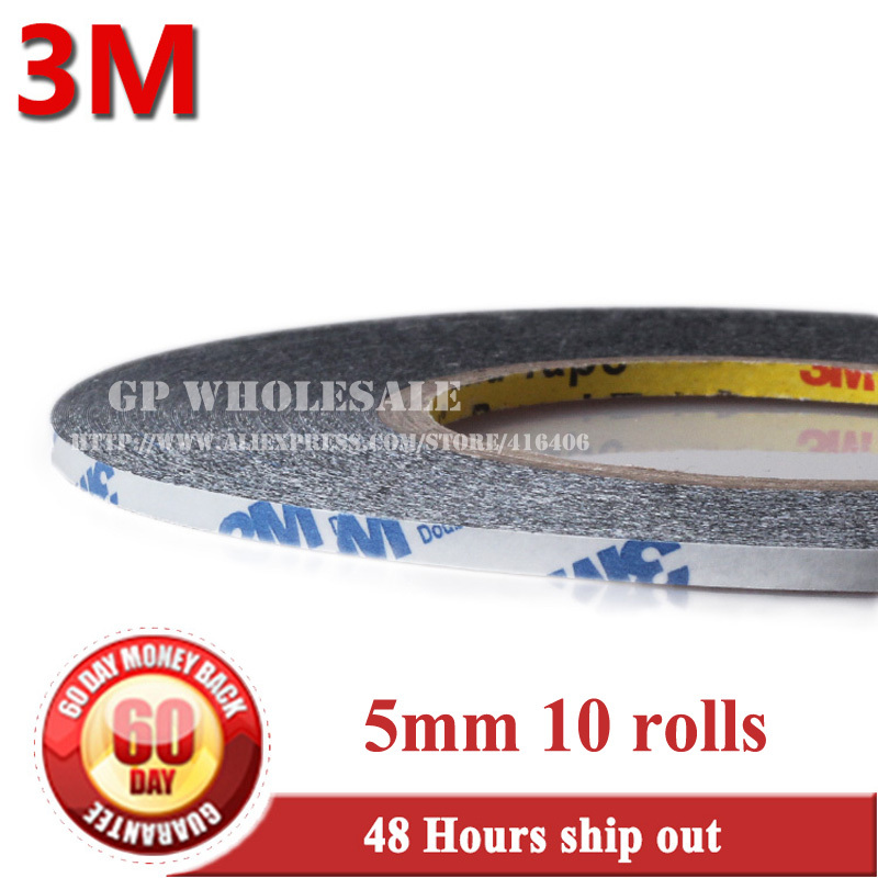 10x 5mm*50M 3M 9448 double Sides adhesive Black Sticky Tape for Tablet Mobilephone Touch Screen LCD Dispaly Panel Glass Repair 1x 76mm 50m 3m 9448 black two sided tape for cellphone phone lcd touch panel dispaly screen housing repair