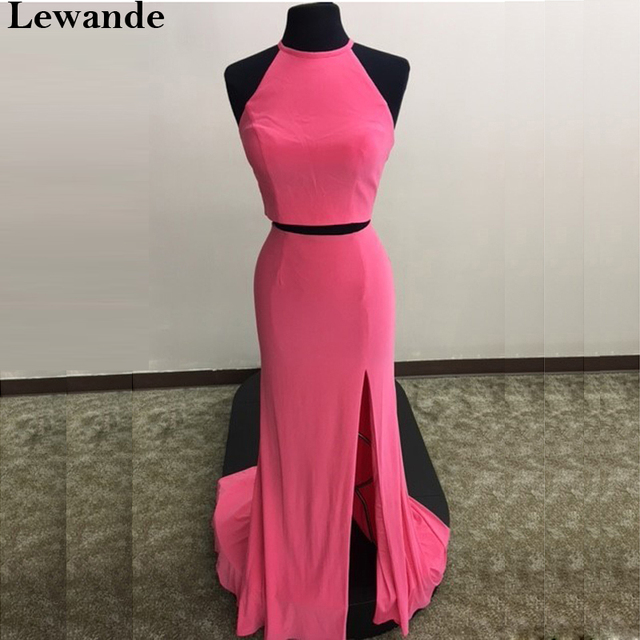 22a1c408ebab2 Lewande Halter Two Piece Jersey Prom Dress 50784 Coral Fitted 2PC Slit Sexy  Pageant Gown