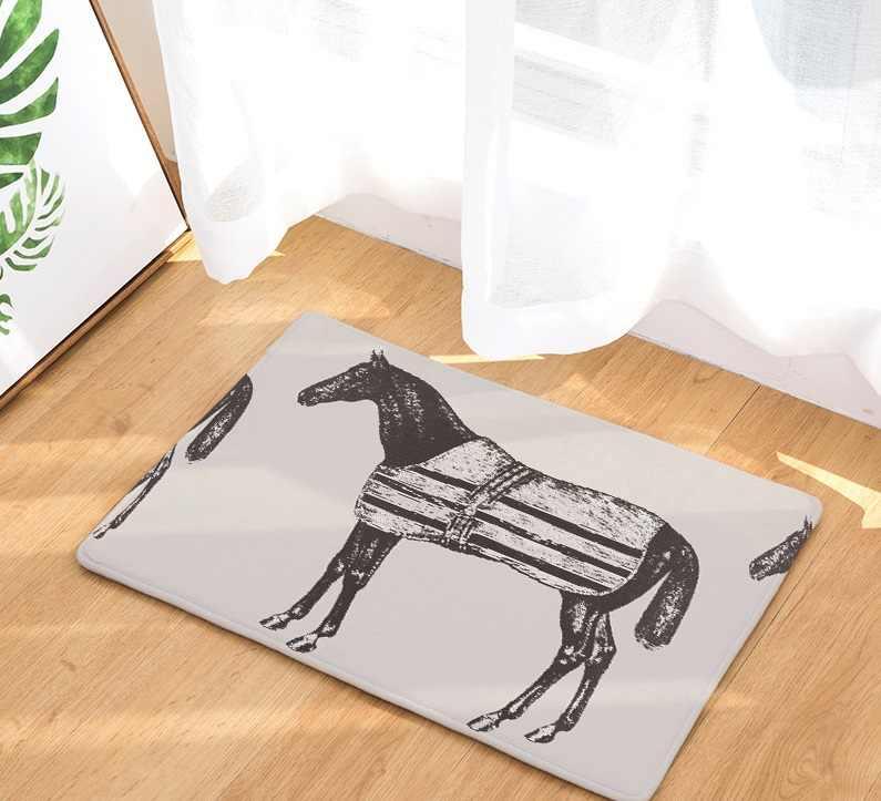 CAMMITEVER العصور الوسطى الحرب الحصان الإبداعية أوروبا نوع السجاد المدخل ممسحة المضادة للانزلاق الحمام السجاد امتصاص الماء المطبخ حصيرة